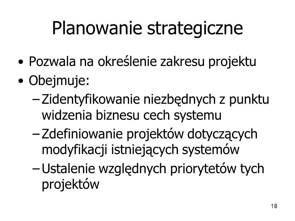 18 Planowanie strategiczne Pozwala na określenie zakresu projektu Obejmuje: –Zidentyfikowanie niezbędnych z punktu widzenia biznesu cech systemu –Zdefiniowanie projektów dotyczących modyfikacji istniejących systemów –Ustalenie względnych priorytetów tych projektów