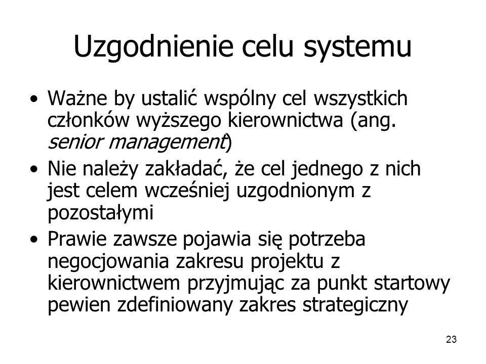 23 Uzgodnienie celu systemu Ważne by ustalić wspólny cel wszystkich członków wyższego kierownictwa (ang.