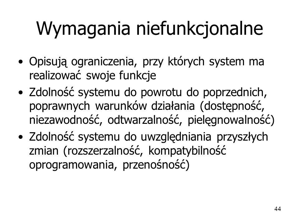 44 Wymagania niefunkcjonalne Opisują ograniczenia, przy których system ma realizować swoje funkcje Zdolność systemu do powrotu do poprzednich, poprawnych warunków działania (dostępność, niezawodność, odtwarzalność, pielęgnowalność) Zdolność systemu do uwzględniania przyszłych zmian (rozszerzalność, kompatybilność oprogramowania, przenośność)