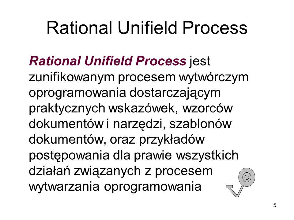 5 Rational Unifield Process Rational Unifield Process jest zunifikowanym procesem wytwórczym oprogramowania dostarczającym praktycznych wskazówek, wzorców dokumentów i narzędzi, szablonów dokumentów, oraz przykładów postępowania dla prawie wszystkich działań związanych z procesem wytwarzania oprogramowania