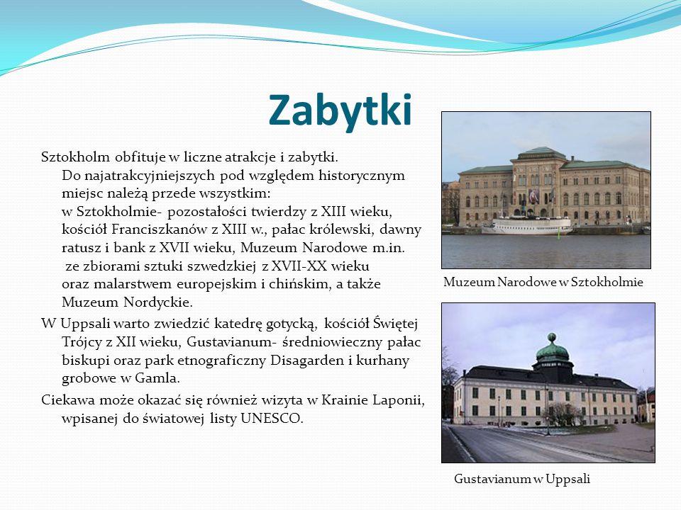 Zabytki Sztokholm obfituje w liczne atrakcje i zabytki. Do najatrakcyjniejszych pod względem historycznym miejsc należą przede wszystkim: w Sztokholmi