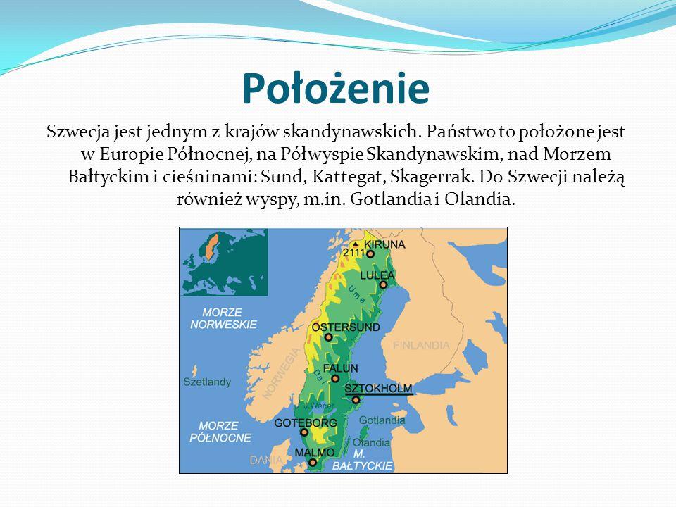 Położenie Szwecja jest jednym z krajów skandynawskich. Państwo to położone jest w Europie Północnej, na Półwyspie Skandynawskim, nad Morzem Bałtyckim