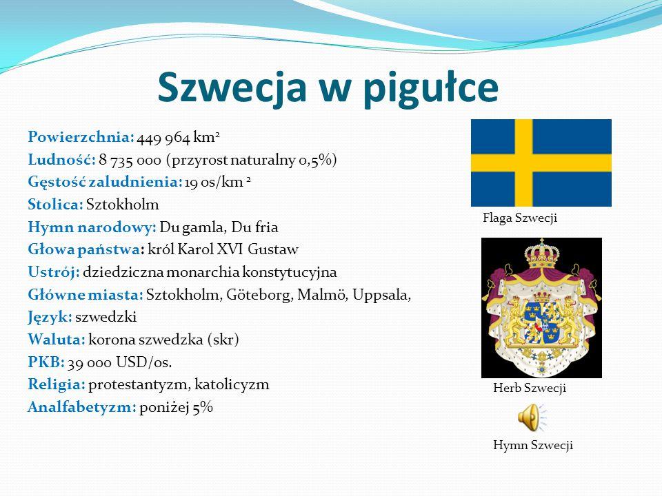 Szwecja w pigułce Powierzchnia: 449 964 km 2 Ludność: 8 735 000 (przyrost naturalny 0,5%) Gęstość zaludnienia: 19 os/km 2 Stolica: Sztokholm Hymn narodowy: Du gamla, Du fria Głowa państwa: król Karol XVI Gustaw Ustrój: dziedziczna monarchia konstytucyjna Główne miasta: Sztokholm, Göteborg, Malmö, Uppsala, Język: szwedzki Waluta: korona szwedzka (skr) PKB: 39 000 USD/os.
