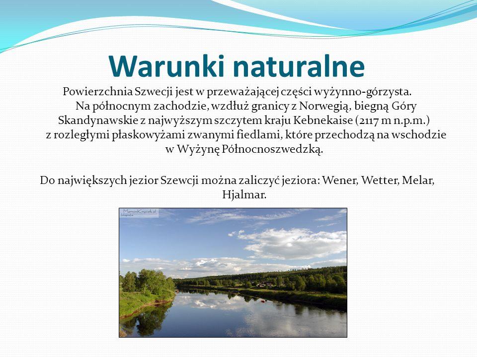 Warunki naturalne Powierzchnia Szwecji jest w przeważającej części wyżynno-górzysta. Na północnym zachodzie, wzdłuż granicy z Norwegią, biegną Góry Sk