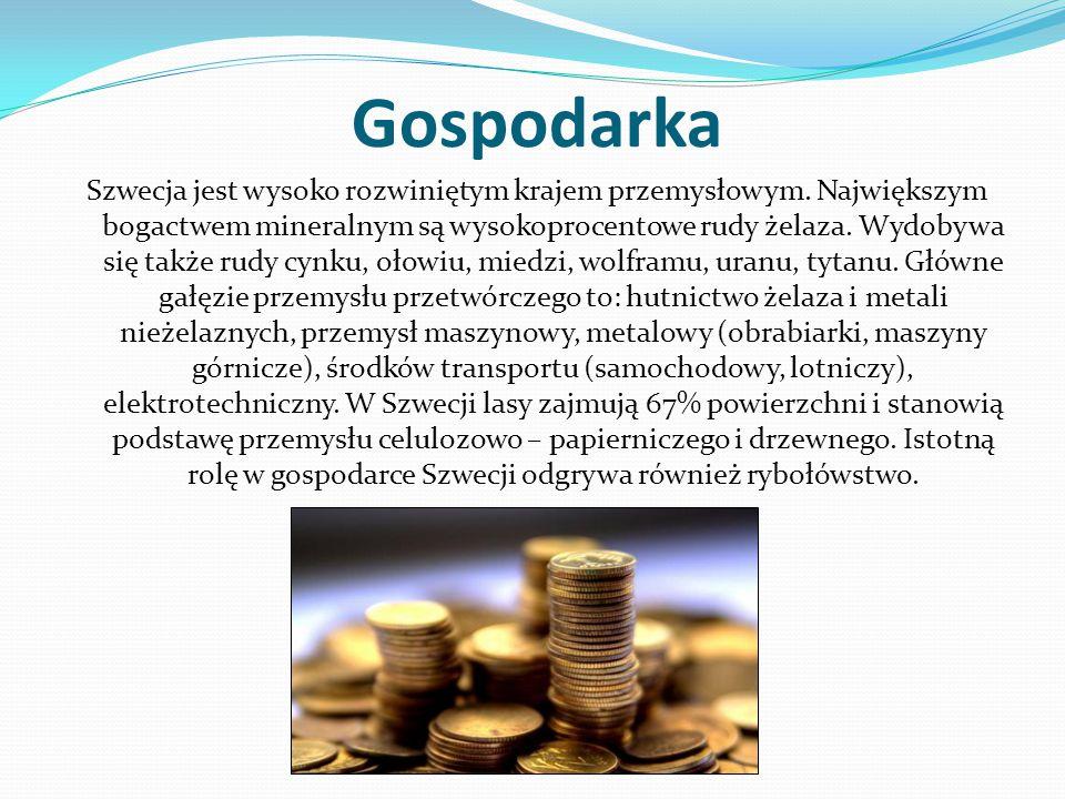 Gospodarka Szwecja jest wysoko rozwiniętym krajem przemysłowym. Największym bogactwem mineralnym są wysokoprocentowe rudy żelaza. Wydobywa się także r