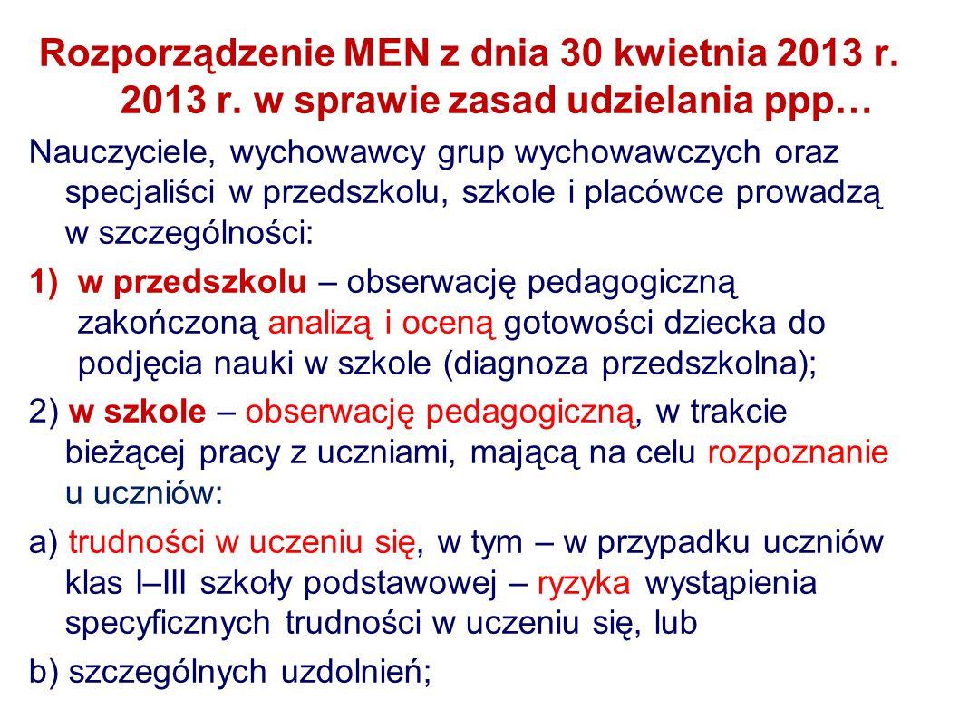 Rozporządzenie MEN z dnia 30 kwietnia 2013 r.2013 r.