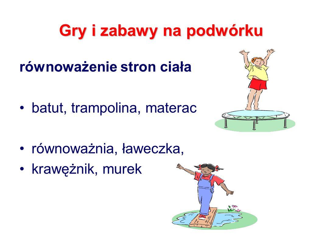Gry i zabawy na podwórku równoważenie stron ciała batut, trampolina, materac równoważnia, ławeczka, krawężnik, murek