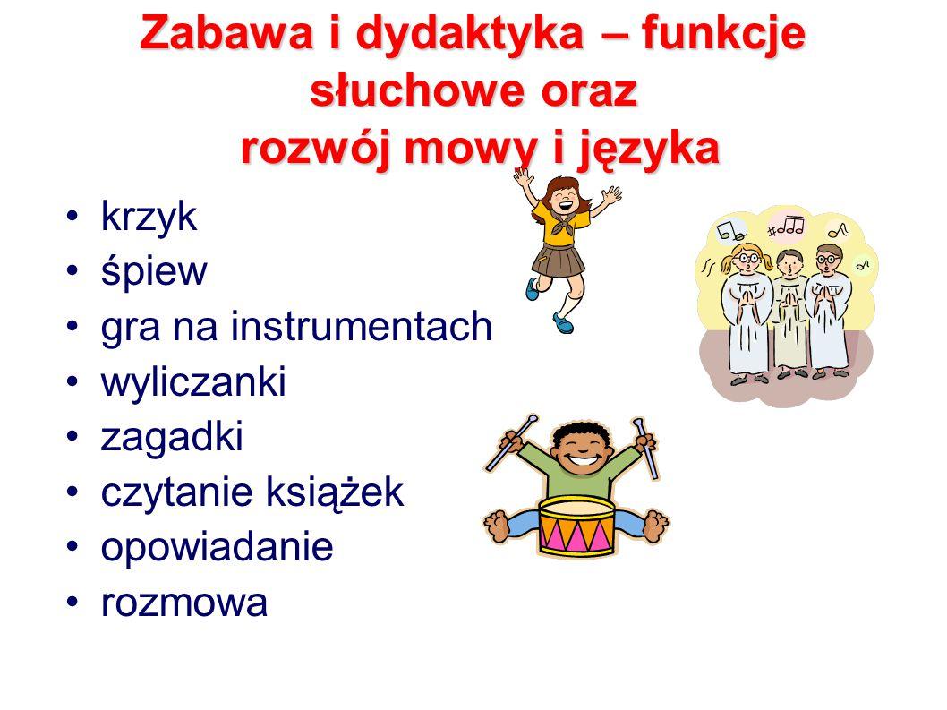 Zabawa i dydaktyka – funkcje słuchowe oraz rozwój mowy i języka krzyk śpiew gra na instrumentach wyliczanki zagadki czytanie książek opowiadanie rozmowa