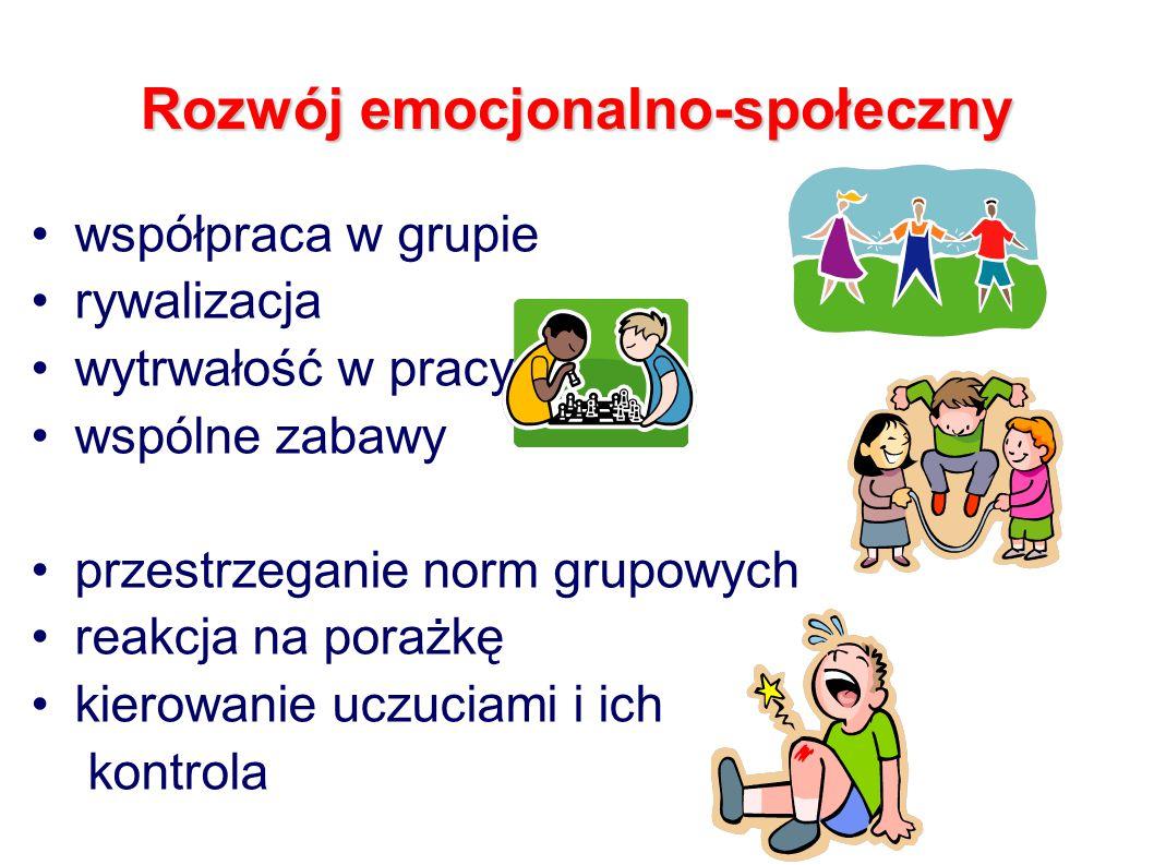 Rozwój emocjonalno-społeczny współpraca w grupie rywalizacja wytrwałość w pracy wspólne zabawy przestrzeganie norm grupowych reakcja na porażkę kierowanie uczuciami i ich kontrola