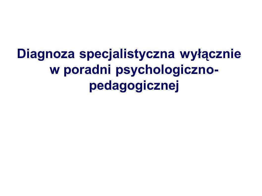 Diagnoza specjalistyczna wyłącznie w poradni psychologiczno- pedagogicznej