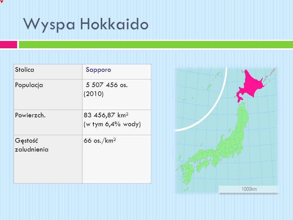 Wyspa Hokkaido Stolica Sapporo Populacja 5 507 456 os. (2010) Powierzch.83 456,87 km² (w tym 6,4% wody) Gęstość zaludnienia 66 os./km²