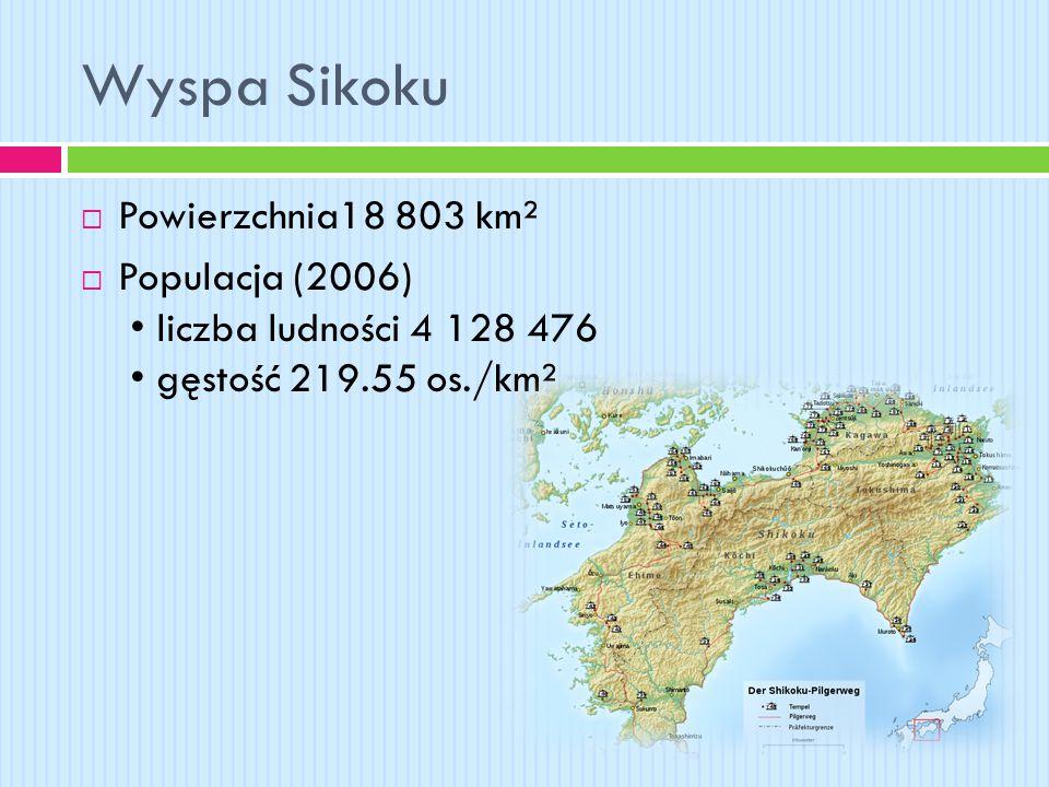 Wyspa Sikoku  Powierzchnia18 803 km²  Populacja (2006) liczba ludności 4 128 476 gęstość 219.55 os./km²