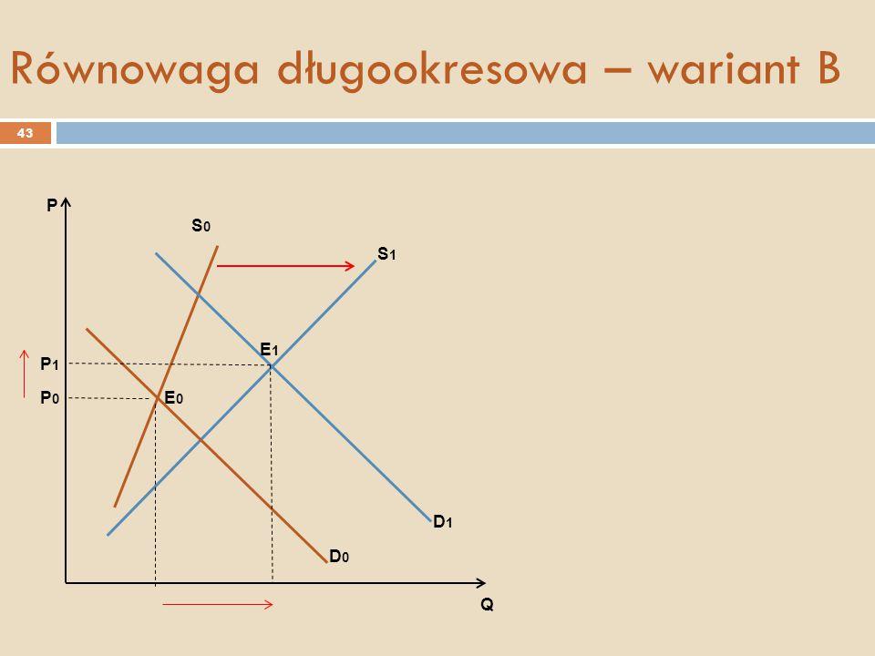S0S0 D0D0 D1D1 S1S1 E0E0 E1E1 P0P0 P1P1 P Q Równowaga długookresowa – wariant B 43
