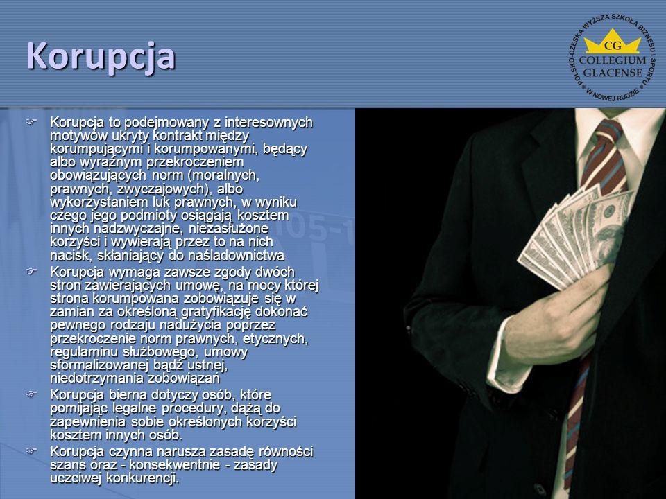 Korupcja  Korupcja to podejmowany z interesownych motywów ukryty kontrakt między korumpującymi i korumpowanymi, będący albo wyraźnym przekroczeniem o