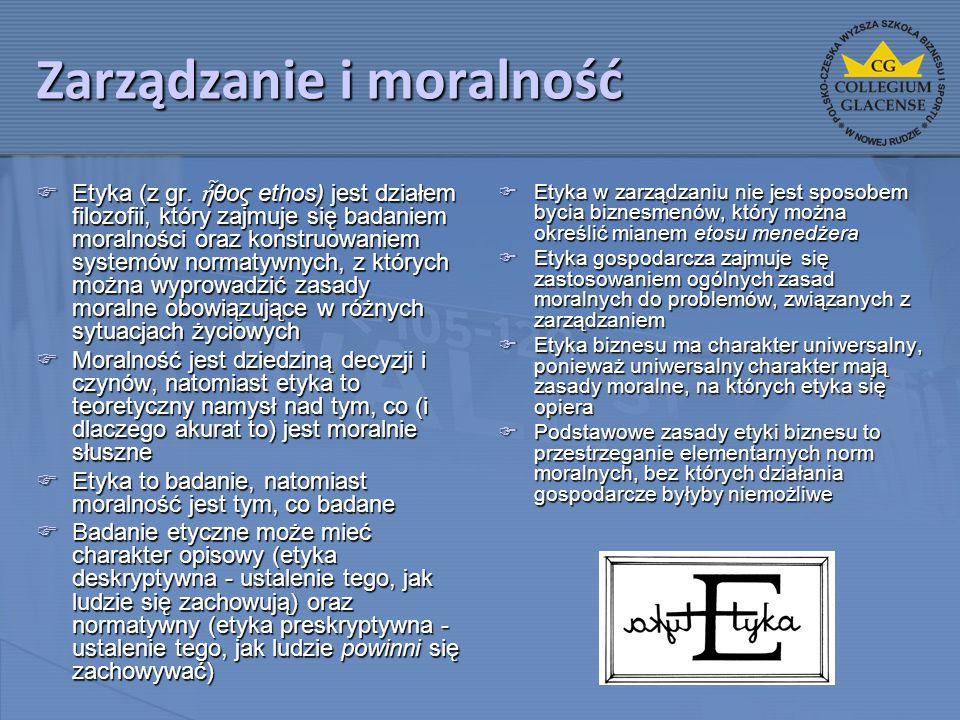Zarządzanie i moralność  Etyka (z gr. ἦ θος ethos) jest działem filozofii, który zajmuje się badaniem moralności oraz konstruowaniem systemów normaty