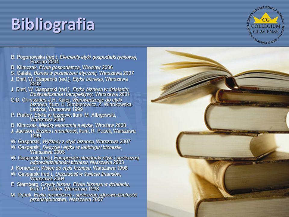 Bibliografia B. Pogonowska (red.), Elementy etyki gospodarki rynkowej, Poznań 2004 B. Klimczak, Etyka gospodarcza, Wrocław 2006 S. Galata, Biznes w pr