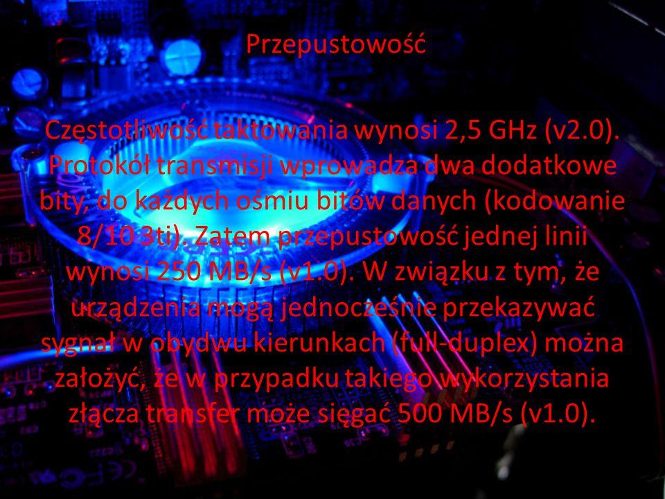 Przepustowość Częstotliwość taktowania wynosi 2,5 GHz (v2.0).