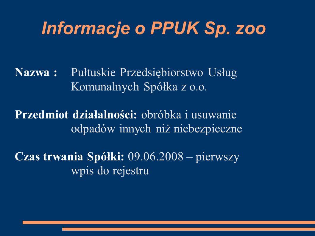 Informacje o PPUK Sp. zoo Nazwa : Pułtuskie Przedsiębiorstwo Usług Komunalnych Spółka z o.o.