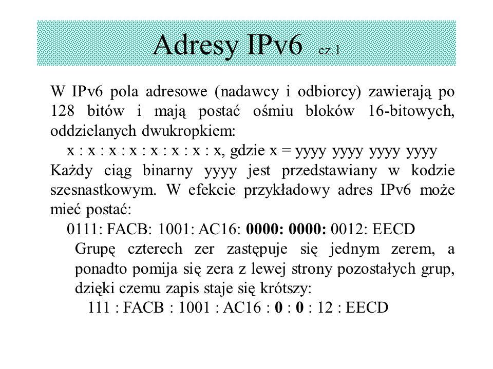 Adresy IPv6 cz.1 W IPv6 pola adresowe (nadawcy i odbiorcy) zawierają po 128 bitów i mają postać ośmiu bloków 16-bitowych, oddzielanych dwukropkiem: x