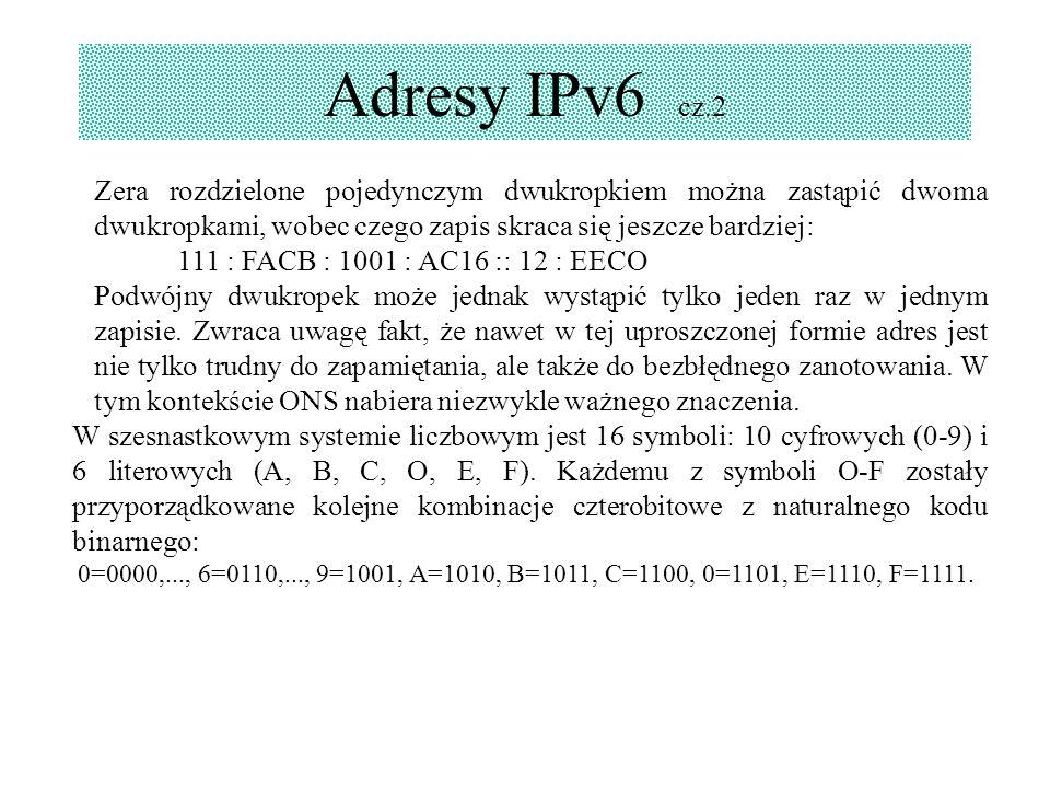 Adresy IPv6 cz.2 Zera rozdzielone pojedynczym dwukropkiem można zastąpić dwoma dwukropkami, wobec czego zapis skraca się jeszcze bardziej: 111 : FACB