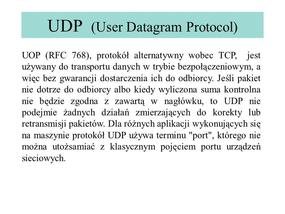 UDP (User Datagram Protocol) UOP (RFC 768), protokół alternatywny wobec TCP, jest używany do transportu danych w trybie bezpołączeniowym, a więc bez g