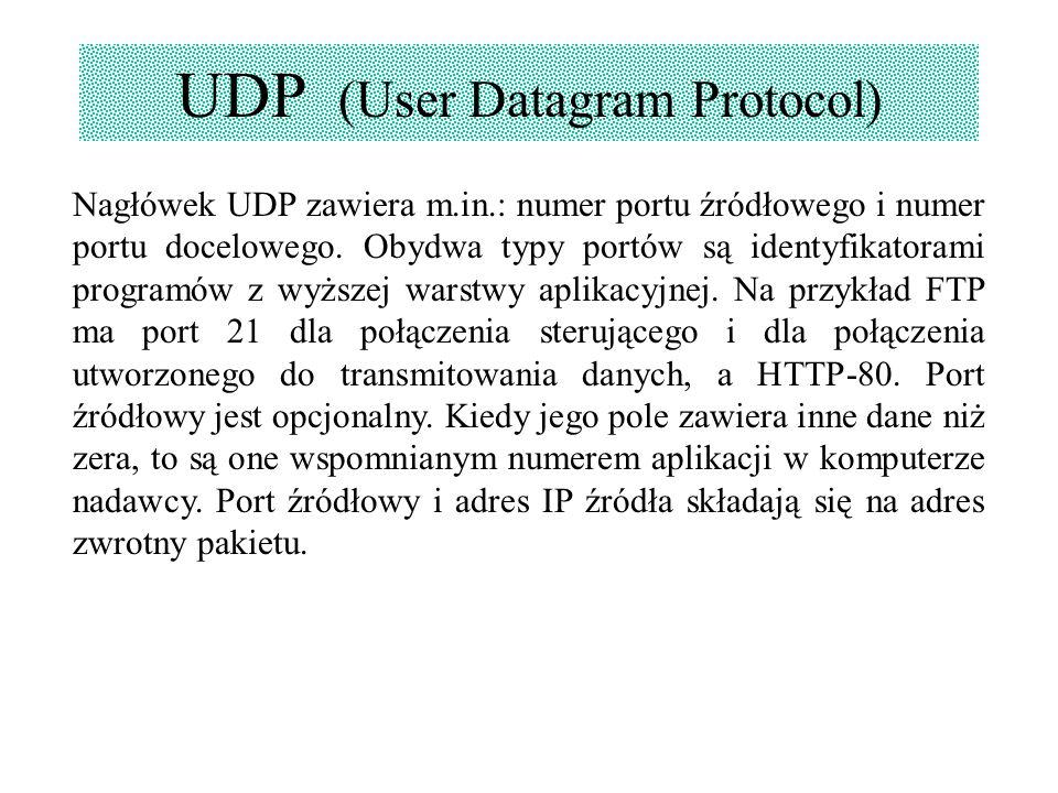 UDP (User Datagram Protocol) Nagłówek UDP zawiera m.in.: numer portu źródłowego i numer portu docelowego. Obydwa typy portów są identyfikatorami progr