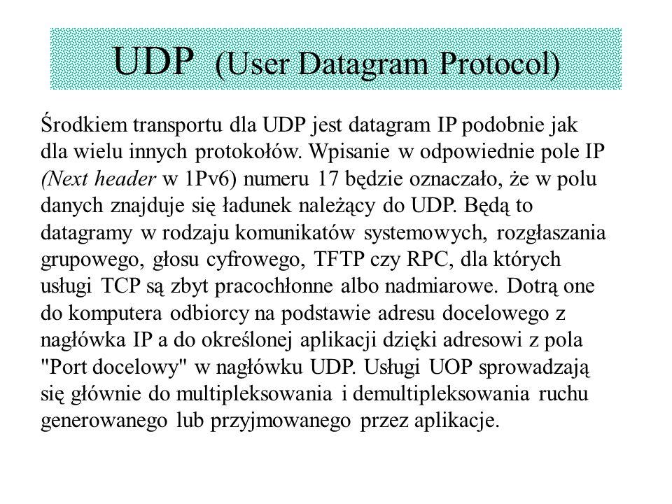 UDP (User Datagram Protocol) Środkiem transportu dla UDP jest datagram IP podobnie jak dla wielu innych protokołów. Wpisanie w odpowiednie pole IP (Ne