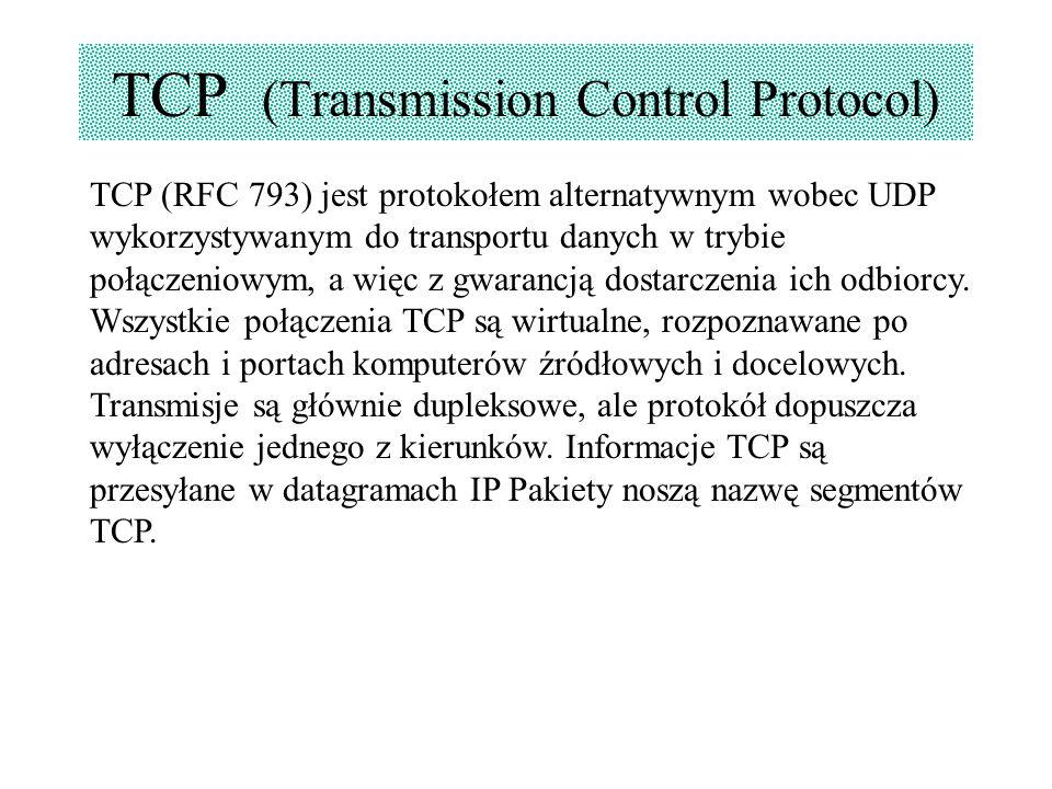 TCP (Transmission Control Protocol) TCP (RFC 793) jest protokołem alternatywnym wobec UDP wykorzystywanym do transportu danych w trybie połączeniowym,