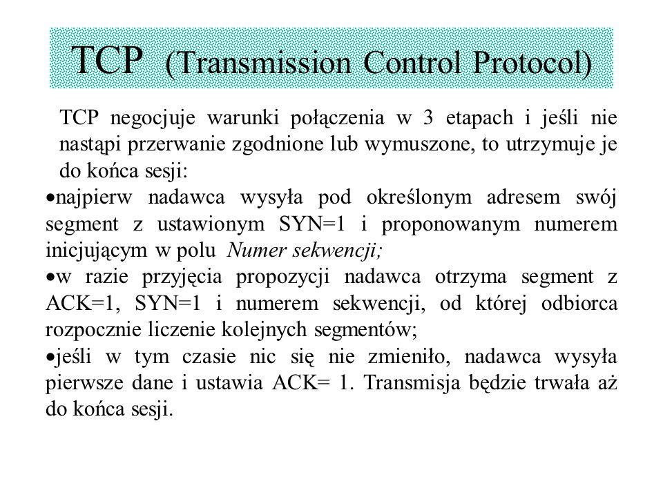 TCP (Transmission Control Protocol) TCP negocjuje warunki połączenia w 3 etapach i jeśli nie nastąpi przerwanie zgodnione lub wymuszone, to utrzymuje