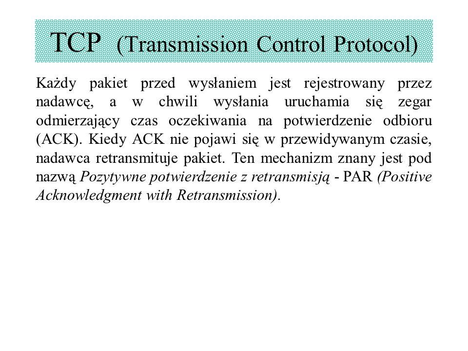 TCP (Transmission Control Protocol) Każdy pakiet przed wysłaniem jest rejestrowany przez nadawcę, a w chwili wysłania uruchamia się zegar odmierzający