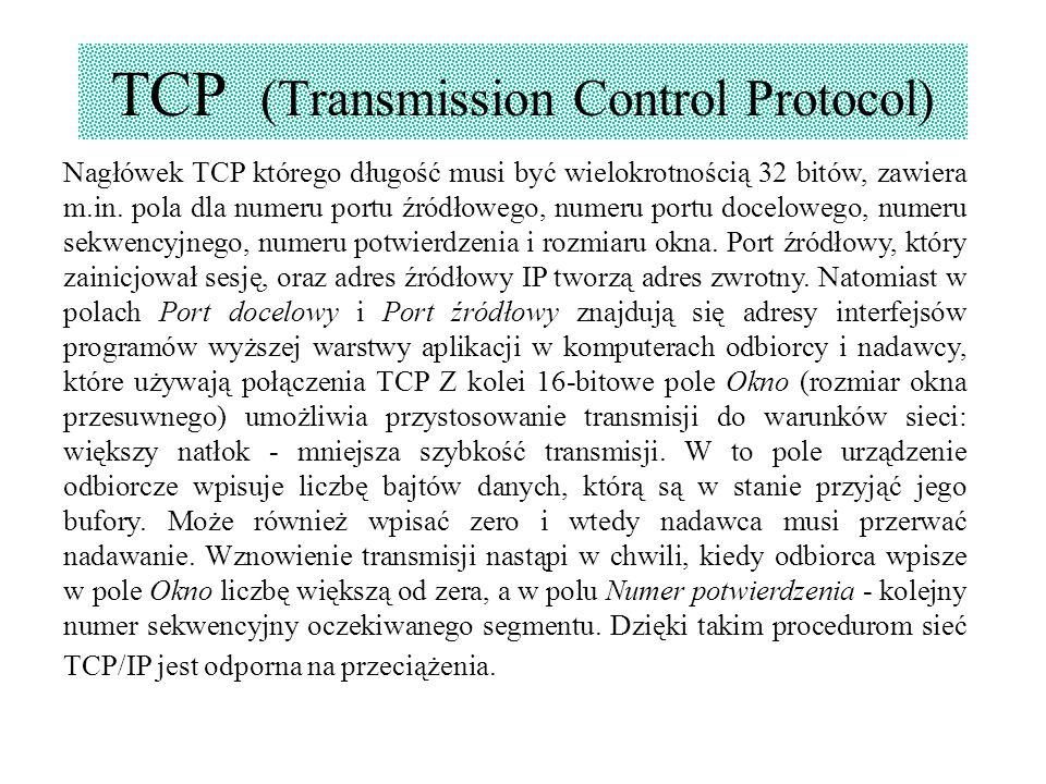 TCP (Transmission Control Protocol) Nagłówek TCP którego długość musi być wielokrotnością 32 bitów, zawiera m.in. pola dla numeru portu źródłowego, nu