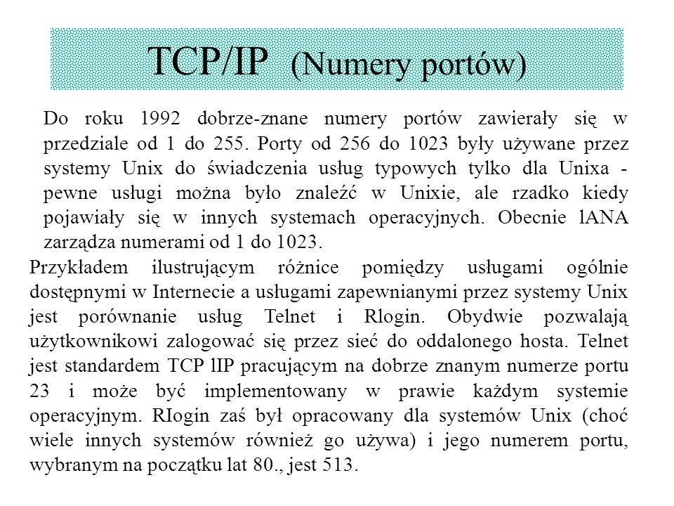 TCP/IP (Numery portów) Do roku 1992 dobrze-znane numery portów zawierały się w przedziale od 1 do 255. Porty od 256 do 1023 były używane przez systemy