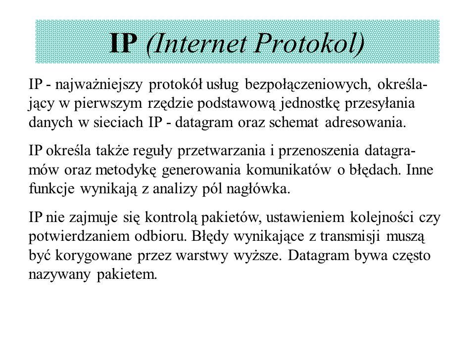 IP (Internet Protokol) IP - najważniejszy protokół usług bezpołączeniowych, określa- jący w pierwszym rzędzie podstawową jednostkę przesyłania danych