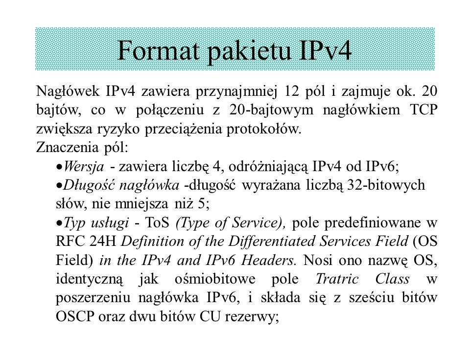 Nagłówek IPv4 zawiera przynajmniej 12 pól i zajmuje ok. 20 bajtów, co w połączeniu z 20-bajtowym nagłówkiem TCP zwiększa ryzyko przeciążenia protokołó