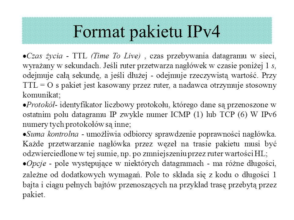 Format pakietu IPv4  Czas życia - TTL (Time To Live), czas przebywania datagramu w sieci, wyrażany w sekundach. Jeśli ruter przetwarza nagłówek w cza