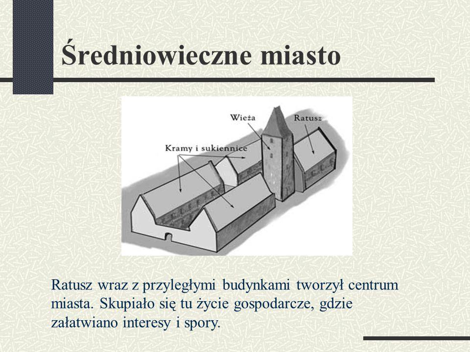 Średniowieczne miasto Ratusz wraz z przyległymi budynkami tworzył centrum miasta.