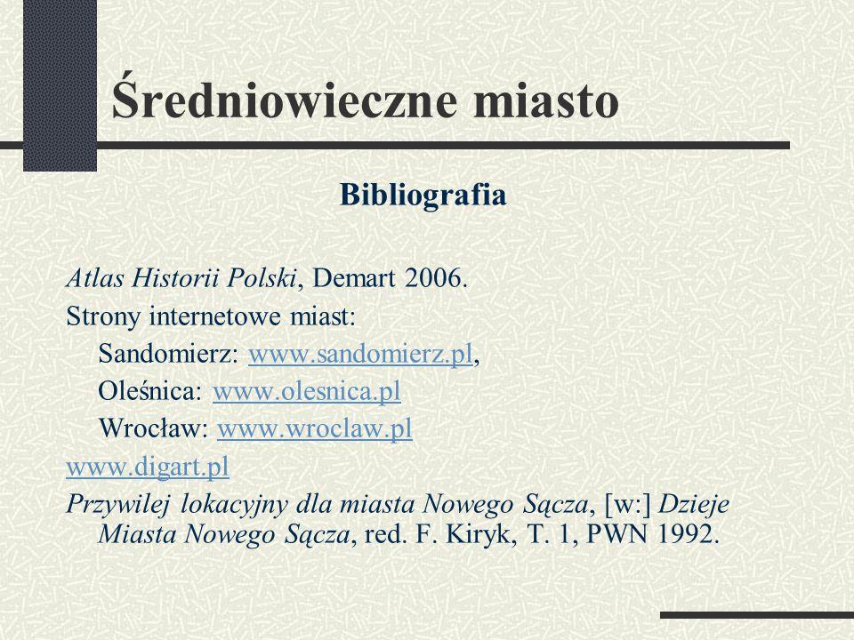 Średniowieczne miasto Bibliografia Atlas Historii Polski, Demart 2006.