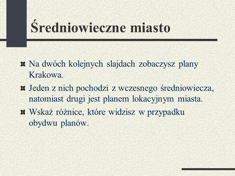 Średniowieczne miasto Na dwóch kolejnych slajdach zobaczysz plany Krakowa.