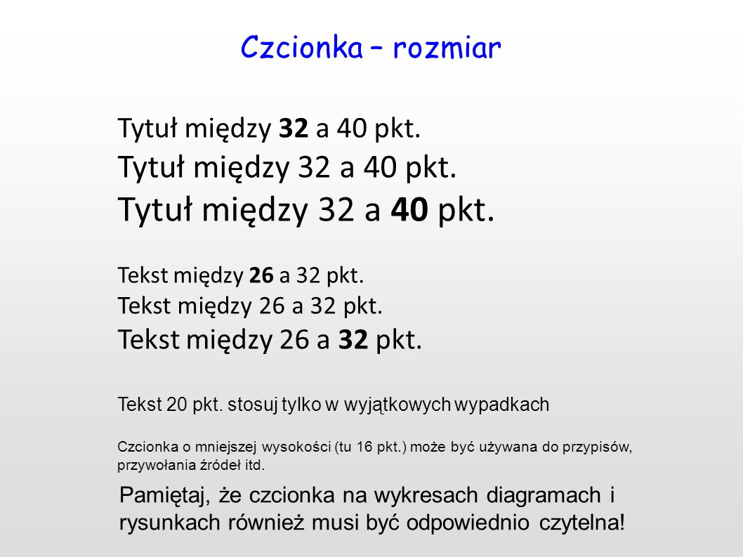 Czcionka – rozmiar Tytuł między 32 a 40 pkt. Tekst między 26 a 32 pkt. Tekst 20 pkt. stosuj tylko w wyjątkowych wypadkach Czcionka o mniejszej wysokoś