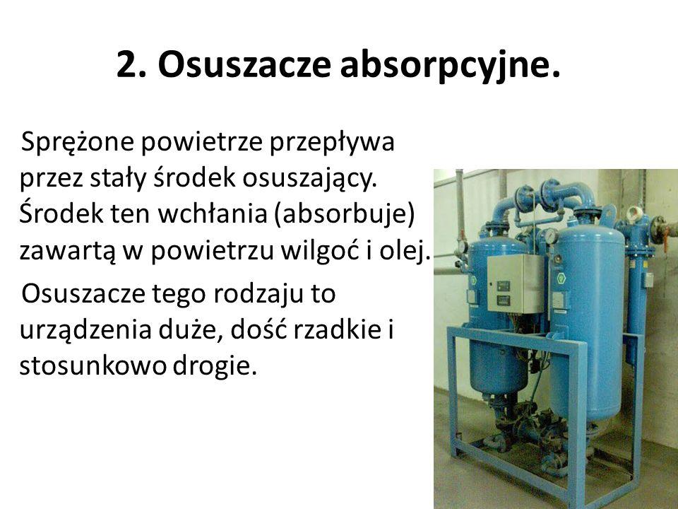2. Osuszacze absorpcyjne. Sprężone powietrze przepływa przez stały środek osuszający. Środek ten wchłania (absorbuje) zawartą w powietrzu wilgoć i ole