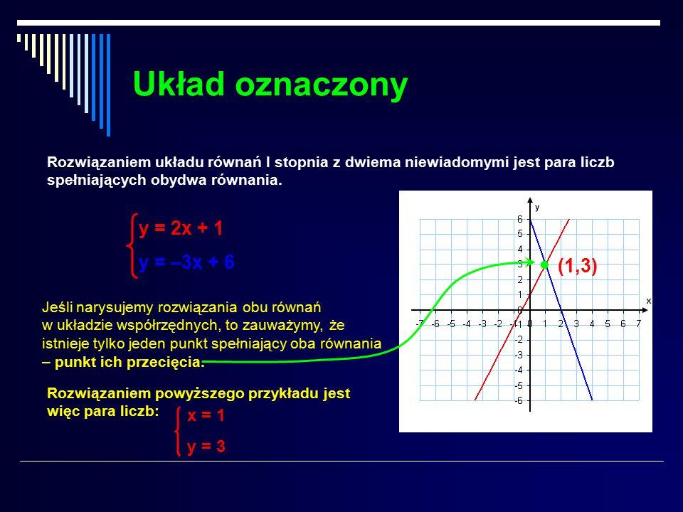 Układ oznaczony Rozwiązaniem układu równań I stopnia z dwiema niewiadomymi jest para liczb spełniających obydwa równania.