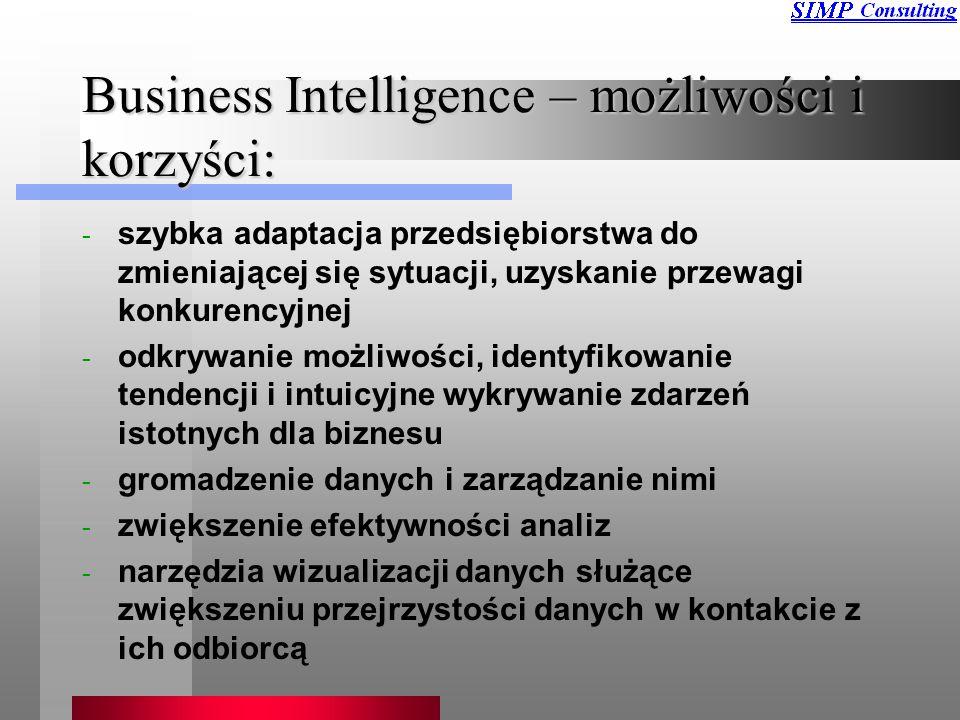 Business Intelligence – możliwości i korzyści: - szybka adaptacja przedsiębiorstwa do zmieniającej się sytuacji, uzyskanie przewagi konkurencyjnej - odkrywanie możliwości, identyfikowanie tendencji i intuicyjne wykrywanie zdarzeń istotnych dla biznesu - gromadzenie danych i zarządzanie nimi - zwiększenie efektywności analiz - narzędzia wizualizacji danych służące zwiększeniu przejrzystości danych w kontakcie z ich odbiorcą