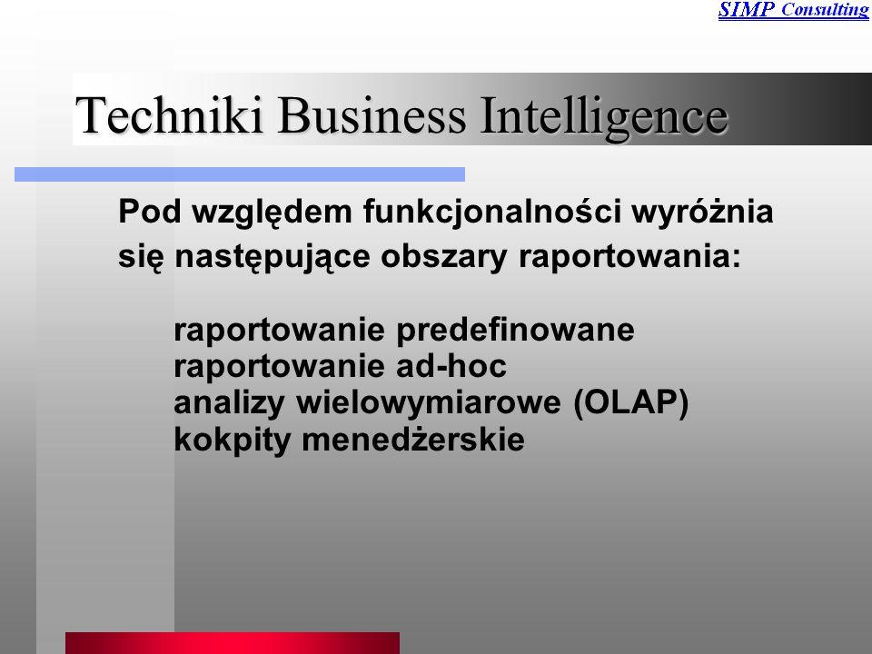 Techniki Business Intelligence Pod względem funkcjonalności wyróżnia się następujące obszary raportowania: raportowanie predefinowane raportowanie ad-hoc analizy wielowymiarowe (OLAP) kokpity menedżerskie