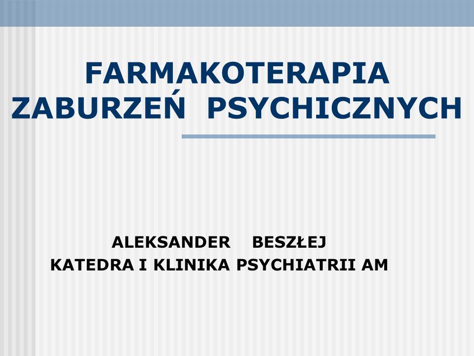 ZASADY LECZENIA ZABURZEŃ PSYCHICZNYCH (Wciórka 2002, modyfikacja własna) Wszechstronność – zaburzenie psychiczne jest najczęściej wielowymiarowe i obejmuje: - deficyty i dysfunkcje mózgowe - zmianę sposobu odczuwania siebie, celów, wartości - problemy, ograniczenia w zakresie pełnionych ról, więzi - ograniczenie w radzeniu sobie z sytuacjami stresowymi Wytrwałość w leczeniu - zaburzenie psychiczne jest najczęściej przewlekłe, rokowanie trudne do przewidzenia Indywidualizacja –powodzenie leczenia zależy od: - dostosowania terapii, do obrazu zaburzenia i sytuacji życiowej pacjenta - zrozumienia, akceptacji i współdziałania pacjenta i jego rodziny Kluczowa rola więzi z lekarzem/terapeutą