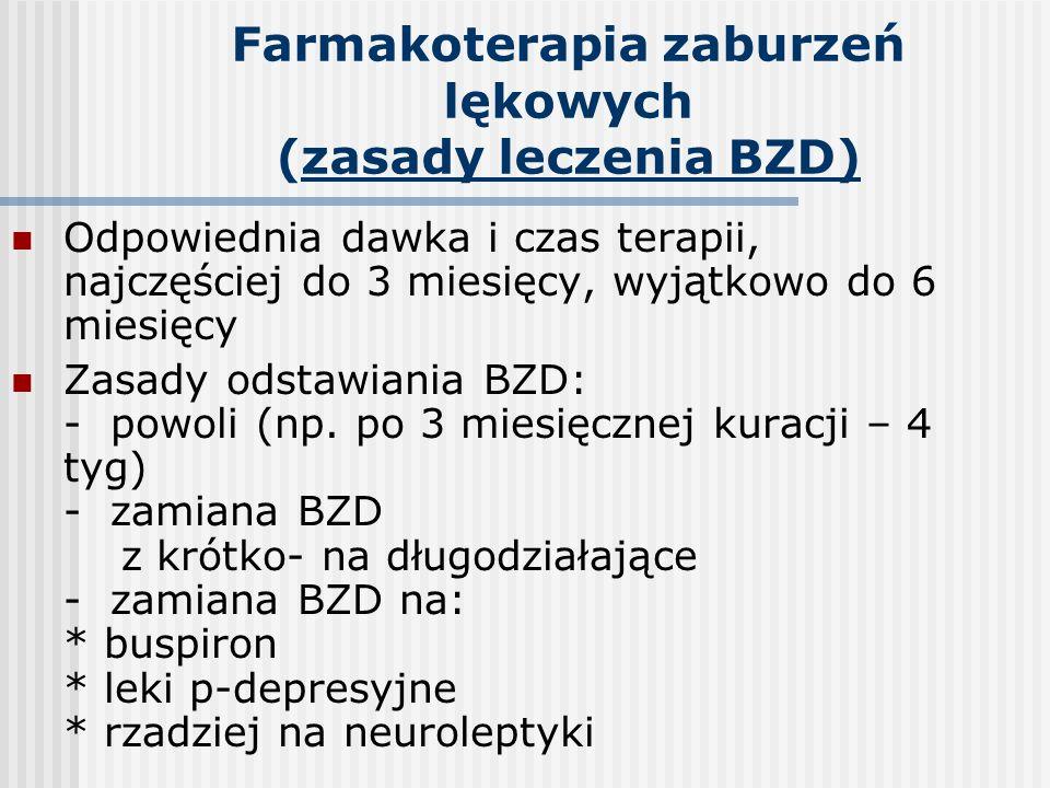 Farmakoterapia zaburzeń lękowych (zasady leczenia BZD) Odpowiednia dawka i czas terapii, najczęściej do 3 miesięcy, wyjątkowo do 6 miesięcy Zasady ods