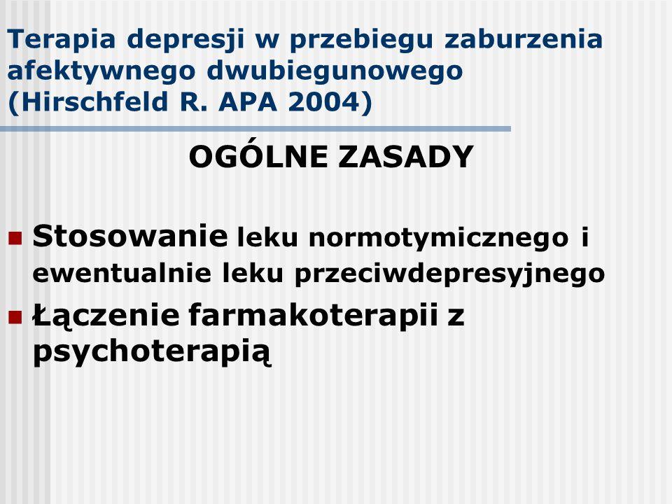 Terapia depresji w przebiegu zaburzenia afektywnego dwubiegunowego (Hirschfeld R. APA 2004) OGÓLNE ZASADY Stosowanie leku normotymicznego i ewentualni