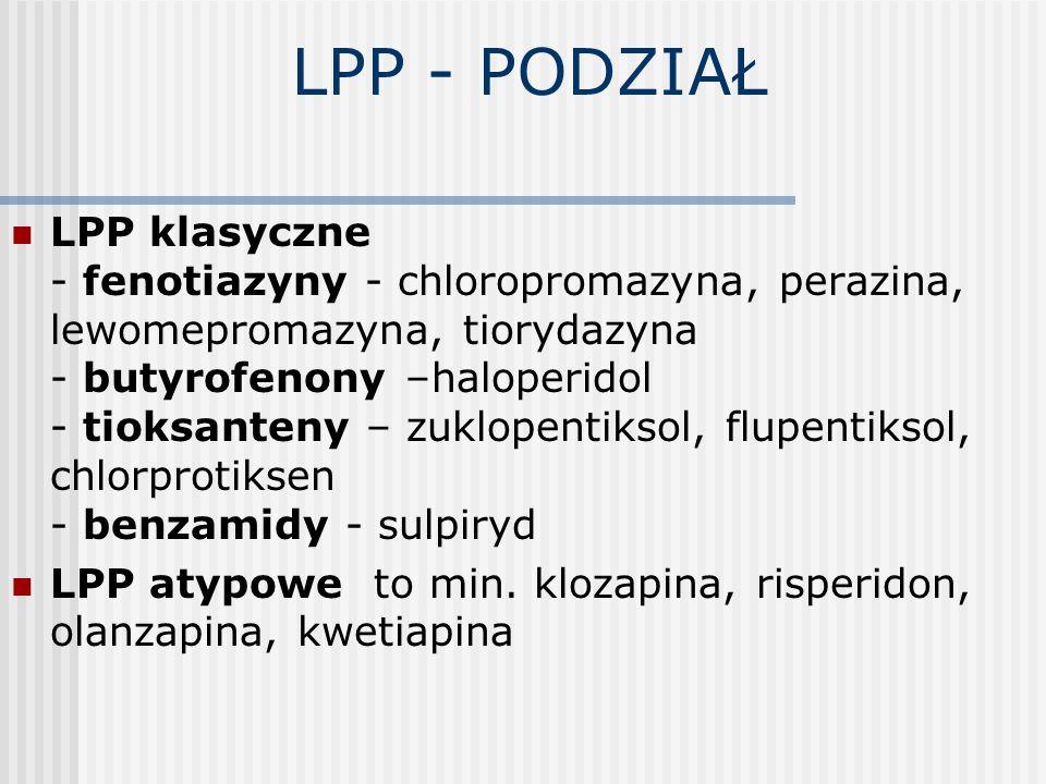 LPP - PODZIAŁ LPP klasyczne - fenotiazyny - chloropromazyna, perazina, lewomepromazyna, tiorydazyna - butyrofenony –haloperidol - tioksanteny – zuklop
