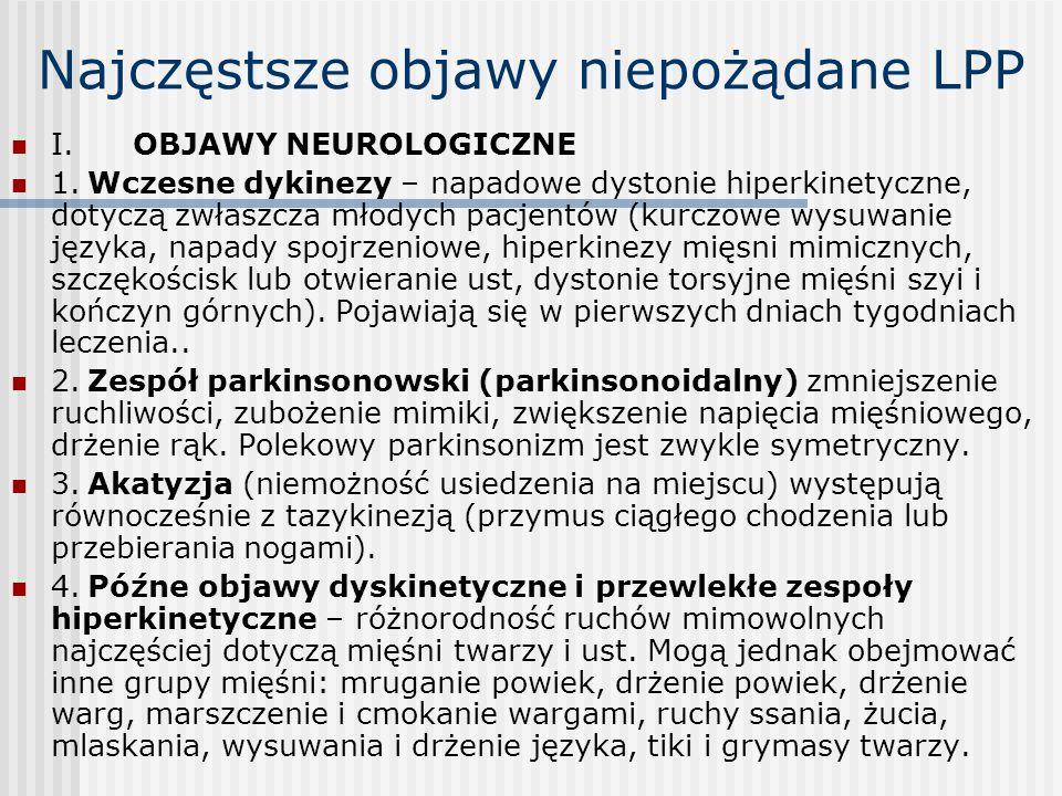 Najczęstsze objawy niepożądane LPP I. OBJAWY NEUROLOGICZNE 1. Wczesne dykinezy – napadowe dystonie hiperkinetyczne, dotyczą zwłaszcza młodych pacjentó
