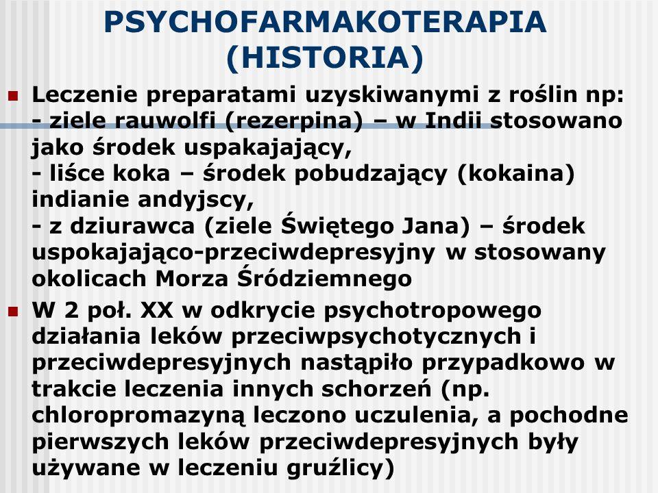 PSYCHOFARMAKOTERAPIA (HISTORIA) Leczenie preparatami uzyskiwanymi z roślin np: - ziele rauwolfi (rezerpina) – w Indii stosowano jako środek uspakajają