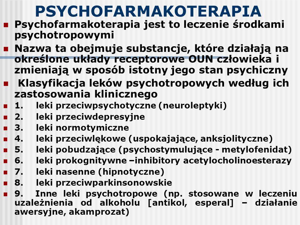 LEKI PRZECIWDEPRESYJNE Są grupą leków psychotropowych, które wywierają terapeutyczny wpływ na podstawowe i wtórne cechy zespołu depresyjnego, w tym na chorobowe zaburzenia nastroju (depresja jako objawy) Dotyczy to w szczególności depresji występujących w przebiegu nawracających zaburzeń afektywnych Leki te mają coraz szersze zastosowanie w leczeniu zaburzeń nerwicowych i adaptacyjnych z objawami zaburzeń nastroju i emocji, bólu psychogennego, w uzależnieniach, zaburzeniach depresyjnych w innych schorzeniach psychicznych (zaburzenie schizoafektywne)